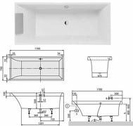 Squaro кварилова ванна 170x75 см