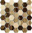 wall mosaic Drops stone brown hex 27,5x27,5