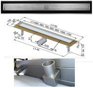 """Душовий канал із нержавіючої сталі з горизонтальним фланцем з решіткою """"Квадрат big & small"""""""