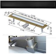 Душовий канал із нержавіючої сталі з горизонтальним фланцем з решіткою з білого/ чорного скла